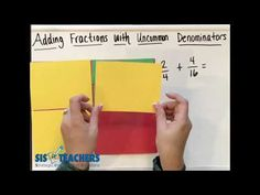 Using area model paper and our favorite Math Might D., Shannon models how to add fractions with uncommon denominators. Add Fractions, Operations With Fractions, Ads, Education, Youtube, Onderwijs, Learning, Youtubers, Youtube Movies