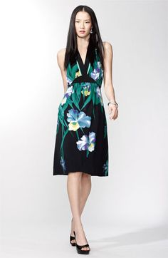 this one is an A-line though which would be nice.  black with floral print, blue and green and yellow
