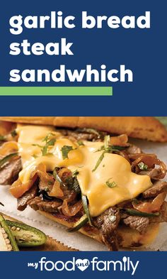 Garlic Bread Steak Sandwich In just 30 minutes you can whip up these flavorful sandwiches for your dinner table. From carmelized onion to KRAFT Singles this recipe has it all! Lunch Recipes, Easy Dinner Recipes, Beef Recipes, Easy Meals, Cooking Recipes, Kraft Recipes, Breaded Steak, Garlic Bread, Beef Dishes