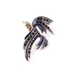 Women Retro 2015 Hot Sale Rhinestone Bird Vintage Blue Brooch Pin