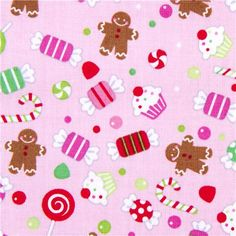 pink Riley Blake Christmas fabric colourful candy  cute fabric with many small colourful sweets from the USA