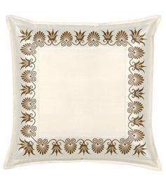 Anthemion Ivory/brown Euro Sham from Eastern Accents Custom Bed, Eastern Accents, Hand Painted, Eclectic Fabric, Bed Linens Luxury, Sham, Pillows, Luxury Bedding Collections, Novelty Pillows