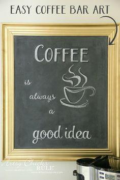 Chalkboard (repurposed framed print) to Coffee Bar Menu Board - EASY COFFEE BAR ART - artsychicksrule #chalkboard #coffeebar