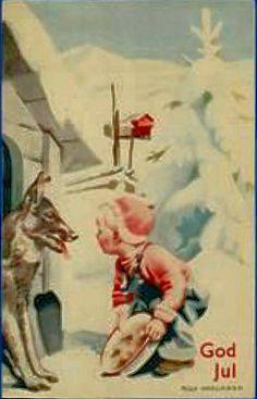 Julekort Milly Heegaard gutt med schäfer brukt 1939