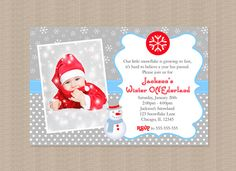 Winter Onederland Birthday Party Invitation in Blue by Honeyprint, $15.00