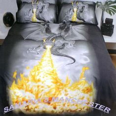 Dragon+Sheets+and+Bedding | Details about DRAGON FIRE - QUEEN BED QUILT COVER - GREAT GIFT IDEA