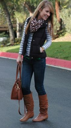 jeans, brown boots, striped shirt, quilted black puffer vest, scarf
