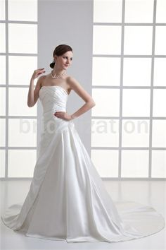 Beautiful White Spring/ Fall Natural A-Line Zipper-back Wedding Dresses