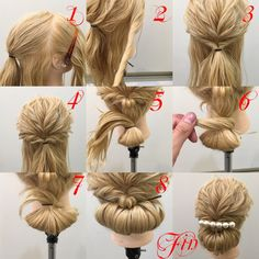 大人なシニヨンアレンジ 1,横と後ろを分けます。(少し斜めのライン)後ろは耳より少し上の髪を結びます。 2,横の髪をねじります 3,後ろで結びます(先に後ろで結んでくるりんぱの要領で二回回しても大丈夫) 4,先に崩します 5,下の余った髪は折り返して結んでお団子を作ります 6,毛先をゴムに巻きつけます 7,巻きつけた毛先をゴムにかませます 8,お団子を3番の結び目の下に持ち上げてきてピン留めします Fin,飾りを崩したら完成です 参考にしてください
