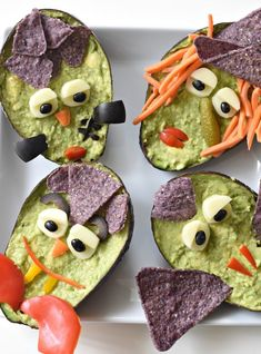 Just scoop out the flesh of the avocado, turn into guacamole, place back into the avocado shell, and make one of your favorite Halloween GuacaMonsters.