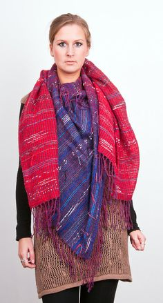 Hand woven Cashmere & Mohair shawl in Red to Navy Blue by Timeja