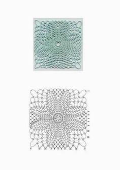 crochet home: crochet Crochet Stitches Chart, Knitting Stiches, Crochet Motifs, Crochet Squares, Thread Crochet, Crochet Doilies, Crochet Patterns, Granny Squares, Square Patterns