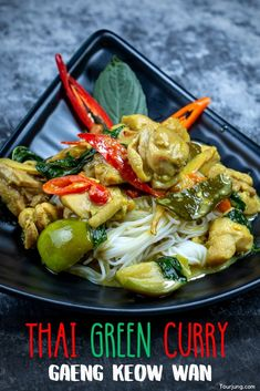 Thai Chicken Green Curry one of the sweet and spicy curry dishes from Thailand. It can be adjusted to zero spicy and it would still be authentic. This is because there are no-chili versions of this dish and Thai people still eat it! Easy Dinner Recipes, Easy Meals, Brunch Recipes, Easy Recipes, Thai Green Curry Recipes, Curry One, Tasty Thai, Spicy Chicken Recipes, Soup Appetizers