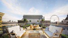 bordures de buis et salon de jardin en bois pour aménager un toit-terrasse moderne