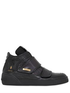 BOTTICELLI LIMITED - LAMÉ & LEATHER HIGH TOP SNEAKERS - LUISAVIAROMA - LUXURY SHOPPING WORLDWIDE SHIPPING - FLORENCE