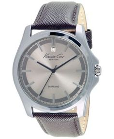 Kenneth Cole New York Men's Diamond Accent Brown Leather Strap Watch 44mm 10027417 - Silver