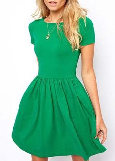 """""""Casual Short Sleeve A Line Dress - Green"""" (quote)"""