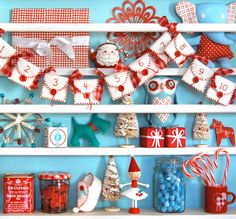 Jenny B's unmistakable style - adorable red and aqua Christmas decor