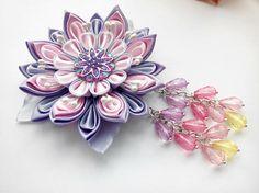 Kanzashi hair clip with beads/Kanzashi flower/Kanzashi hair