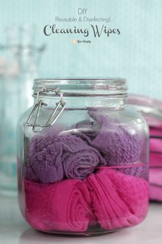 DIY Cleaning Wipes (Reusable & Disinfecting) - Live Simply:     2 cups water (distilled for long term use, tap water is fine if using within a week)     1 cup white vinegar     15 drops lavender essential oil (where to buy)     5 drops lemon essential oil (where to buy)     5 drops tea tree essential oil (where to buy)     6 washcloths