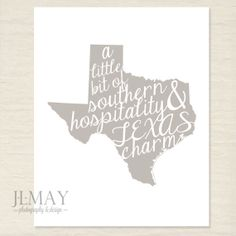 Texas Charm // Instand Download // Digital Print // Typography // Texas Art // Texas Silhouette // 8x10