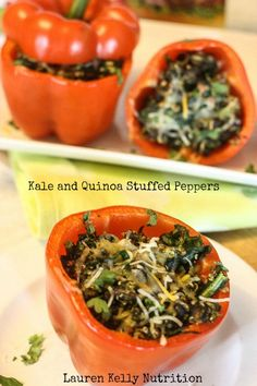 Kale and Quinoa Stuffed Peppers - Lauren Kelly Nutrition #vegetarian