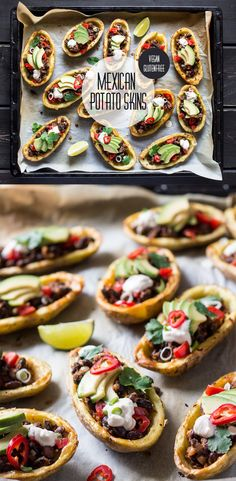 Crispy potato skins filled with delicious mexican filling make a great lunch, dinner or post-exercise recovery meal. Easy and quick to make, naturally vegan and glutenfree too #mexicanfoodrecipes