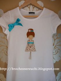 shirt with doll felt n cotton applique Shirts For Girls, Girl Shirts, Textiles, Diy Fashion, Arts And Crafts, Embroidery, Sewing, Kids, Mens Tops
