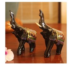 Set of 2 Lacquered Wood 'Happy Elephants' Figurines (Thailand)