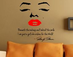 "Be the envy of your friends and family with this fabulous Marilyn Monroe wall decal!  Measuring approximately 24"" x 24"" - this two-color decal will make your home POP and is both stylish and elegant.  The decal features the popular quotation from Marilyn stating ""Beneath the makeup and behind the smile, I'm just a girl who wishes for the world.""@Abby Walters"