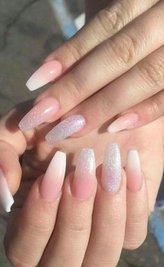 French Fade With Nude And White Ombre Acrylic Nails Coffin Nails French Ombre Nails with Gold Glitter; Acrylic Nail Art, Acrylic Nail Designs, Acrylic Nails Coffin Ombre, Prom Nails, Long Nails, Wedding Nails, Wedding Acrylic Nails, Mauve Wedding, Nails 2018