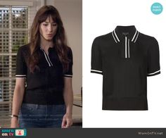 Spencer's black polo top with white trim on Pretty Little Liars.  Outfit Details: https://wornontv.net/55816/ #PLL