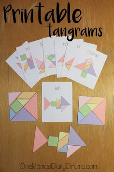 Printable tangrams + challenge cards make an easy DiY gift idea. Print & cut out… Printable tangrams + challenge cards make an easy DiY gift idea. Print & cut out the pieces and cards for hours of kids entertainment. Best of One Mama's Daily Drama Preschool Math, Kindergarten Math, Teaching Math, Preschool Curriculum, Homeschool Meme, Montessori Elementary, Homeschooling, Math Games, Toddler Activities