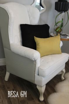 Painted Fabric Wingchair with Dollar Store Tacks