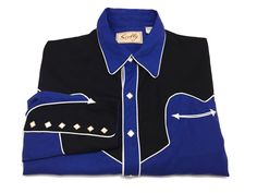 Scully M Western Men's Cowboy Pearl Snap Blue Black Shirt Medium Long Sleeve #Scully #Western