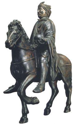 Statuette dite de Charlemagne à cheval (bronze, IXe siècle,  musée du Louvre)