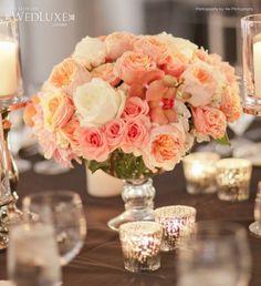 Vinatge chic style wedding reception centerpiece