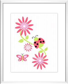 Baby Nursery Wall Art  - Digital Art -  Flowers - LadyBug - Butterfly - Pink - Purple - Red - Baby Nursery Decor - Kids Room - Nursery Art. .