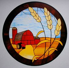 Harvest – could do rolling fields instead of barn - Cool Glass Art Designs Stained Glass Quilt, Stained Glass Flowers, Faux Stained Glass, Stained Glass Lamps, Stained Glass Designs, Stained Glass Panels, Stained Glass Projects, Stained Glass Patterns, Leaded Glass