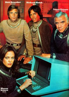 "Maren Jensen as Athena, Dirk Benedict as Starbuck, Richard Hatch as Apollo, and Lorne Green as Commander Adama in ""Battlestar Galactica (TV Series, 1978 – 80 Tv Shows, Sci Fi Shows, Great Tv Shows, Movies And Tv Shows, Pulp Fiction, Science Fiction, Kampfstern Galactica, Battlestar Galactica 1978, Sci Fi Tv"