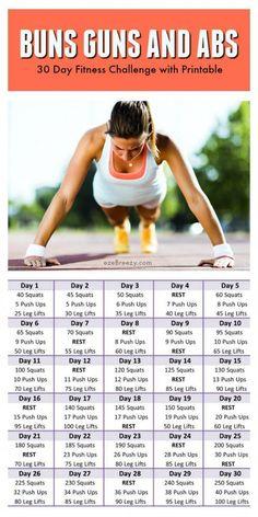 30 Day Fitness Challenge and PRINTABLE