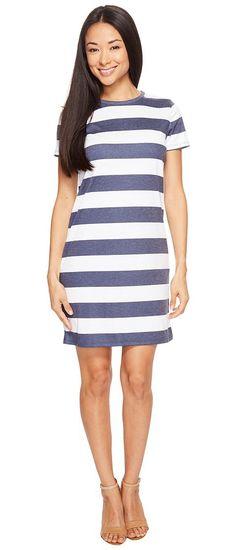 MICHAEL Michael Kors Rugby Stripe T-Shirt Dress (True Navy/White) Women's Dress - MICHAEL Michael Kors, Rugby Stripe T-Shirt Dress, MS78WWB674-428, Apparel Top Dress, Dress, Top, Apparel, Clothes Clothing, Gift, - Street Fashion And Style Ideas