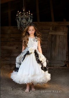 Jamey Reed Photography ~ Guntersville, Alabama ~ Portrait and Commercial Photographer ~ Child Model ~ Sophie Grace Miller ~ Love Baby J ~ Couture Parisian Feather Gown ~ Grandpa's Barn ~ Dirt Floor ~ Barefoot