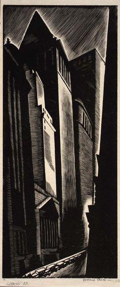 Canyons N.Y., 1928 | Howard Cook http://largerloves.tumblr.com/post/28265935748/soircharmant-journalofanobody