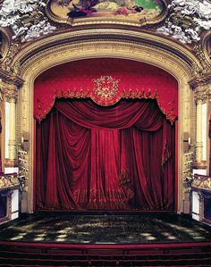ROYAL SWEDISH OPERA HOUSE, STOCKHOLM, SWEDEN, The stage main curtain & proscenium arch.