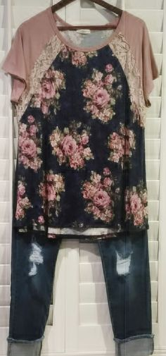 A Day In May Floral Baseball T Shirt Top Navy Floral with Lace 1XL 2XL 3XL