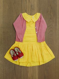 Pink cardigan, from £55 Yellow dress, £65 BubbleChops Exclusive Red Shoes, £60