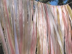 Ribbon Wedding Backdrop Pink Blush Gold Ivory Sparkle