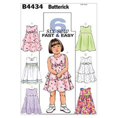 Butterick Sewing Pattern B4434 Niños/'S//vestido de los niños