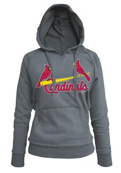 Womens Hooded Sweatshirt - Grey Cardinals Brushed Fleece Long Sleeve Hoodie, sz medium
